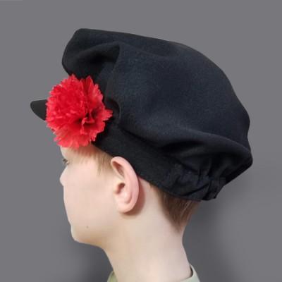 Картуз детский русско-народный (креп-сатин) черный