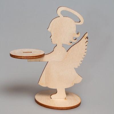 """Фигурка из фанеры плоская подсвечник """"Ангел"""" на подставке"""