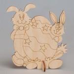 """Фигурка из фанеры плоская с контурами """"Пасхальные кролики"""" на подставке"""