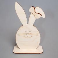 """Фигурка из фанеры плоская """"Пасхальный кролик с бантиком"""" (большая) на подставке"""