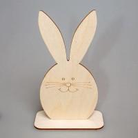 """Фигурка из фанеры плоская """"Пасхальный кролик """" (большая) на подставке"""