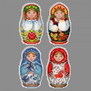"""Набор для вышивания """"М.П.Студия"""" Р №12 №337 """"Русские матрешки"""" Магниты 5 х 9 см"""