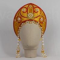 Кокошник Праздничный КП-02 (золотой с красной окантовкой)