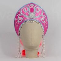 Кокошник Праздничный КП-02 (розовый с голубой окантовкой)