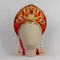Кокошник Праздничный КП-02 (красный с золотисто-зеленой окантовкой)