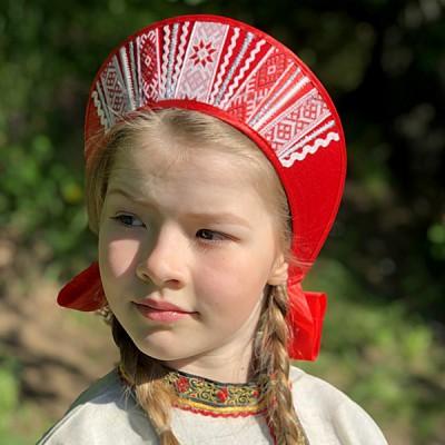 """Кокошник """"Девичий"""" КД-01 (Алый)"""