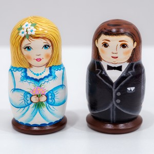 """Матрешка """"Свадебная"""" 8 см 2 шт.  МС01"""