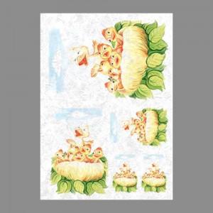 """Бумага рисовая IRP 32 x 45 0110 Птицы в гнезде """"Love2art"""""""