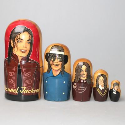 """Матрешка """"Майкл Джексон""""с покрытием лаком"""