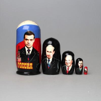 """Матрешка """"Руководители СССР и президенты России-2"""" с покрытием лаком"""