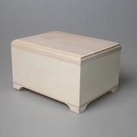 Деревянная заготовка шкатулка плоская  с фрезой 16 х 12 х 9,5 см с уценкой