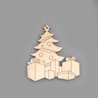 """Фигурка-подвес плоская из фанеры """"Новогодняя ёлка с подарками"""""""