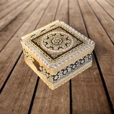 """Коробка из бересты """"Цветочный узор - 1"""" 130х125х70 мм"""