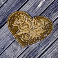 """Зеркальце из бересты в форме сердечка, раскладное """"Розы"""""""