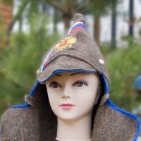 Буденовка из шинельной ткани с синей окантовкой и гербом России