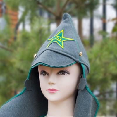 Буденовка с зеленой окантовкой и звездой (цвет хаки)