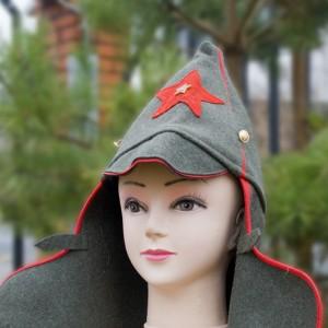 Буденовка с красной окантовкой и звездой (цвет хаки)