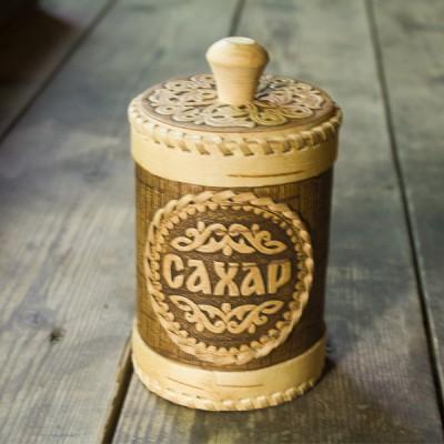 "Туес ""Сахар"" 12х8,5 см (береста)"