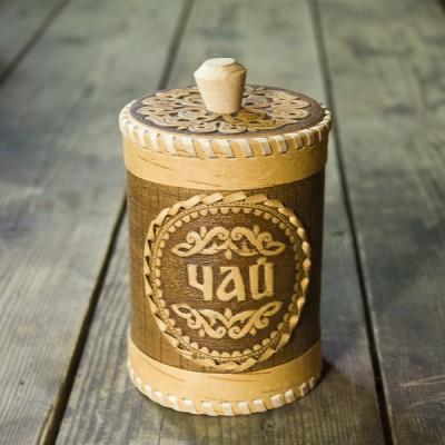 """Туес """"Чай"""" 12х8,5 см (береста)"""