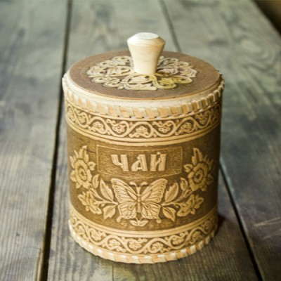 "Туес ""Чай"" 11.5х10,5 см (береста, орнамент с бабочкой)"