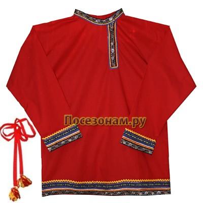 Косоворотка с поясом мужская (детская) бязь красная
