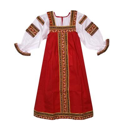 """Костюм фольклорный """"Аленушка"""" красный (детский)"""