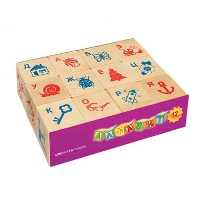 Деревянные кубики Алфавит и рисунок, 12 шт.