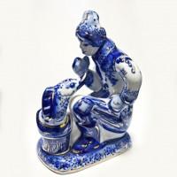 Скульптура «Емеля» с позолотой (гжель)