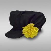 Картуз мужской русско-народный (креп-сатин) черный с желтым цветком