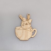 """Фигурка-подвес плоская """"Кролик с бантиком в чашке"""""""