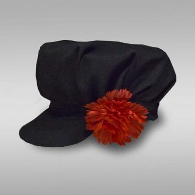 Картуз мужской русско-народный (креп-сатин) черный с красным цветком