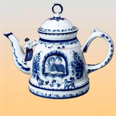 Чайник «Любовь и голуби» (гжель)