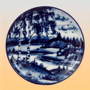 Тарелка настенная (гжель)