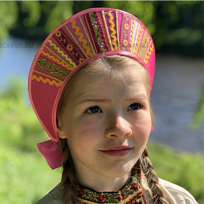 """Кокошник """"Девичий"""" КД-01 (розовый)"""