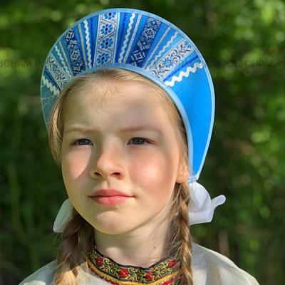 """Кокошник """"Девичий"""" КД-01 (Голубой)"""