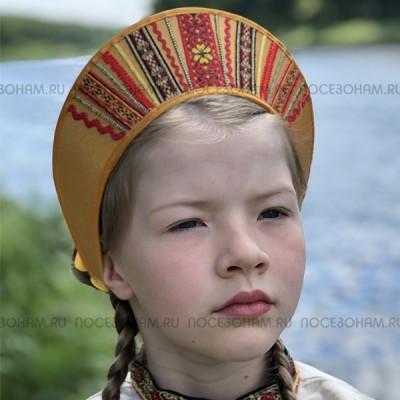 """Кокошник """"Девичий"""" КД-01 (Цвет желтый)"""