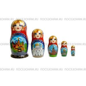 """Матрешка 5-ти кукольная (авторская) """"Виды Москвы"""""""