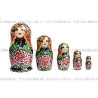 """Матрешка 5-ти кукольная (авторская) """"Цветы"""""""