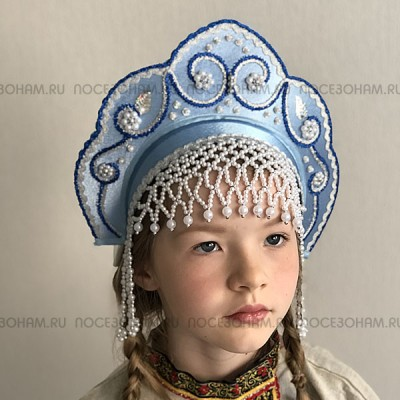 """Кокошник """"Венец"""" детский (голубой с серебристо-синей окантовкой)"""