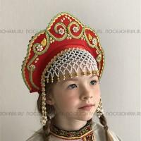 """Кокошник """"Венец"""" детский (красный с золотисто-зеленой окантовкой)"""