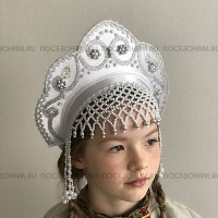 """Кокошник """"Венец"""" детский (белый с серебристой окантовкой)"""