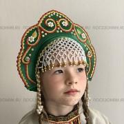 """Кокошник """"Венец"""" детский (зеленый с золотисто-красной окантовкой)"""