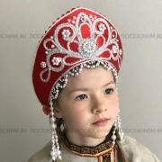 Кокошник Праздничный КП-02 (красный с серебристой окантовкой)