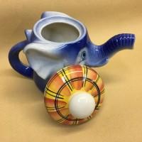 Чайник фарфоровый Слонёнок Митя синий