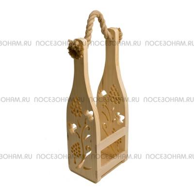 Короб деревянный под бутылку шампанского с веревкой (перфорированная декорация)