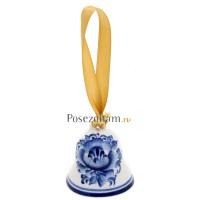 Сувенир «Колокольчик с лентой» малый (гжель)