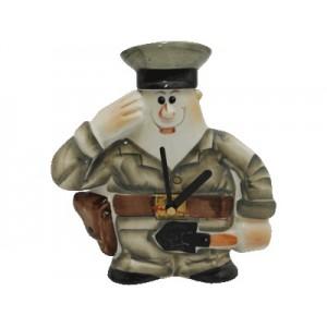 """Часы-фляга фарфоровые """"Военный"""""""