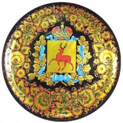 Тарелка-панно декоративное с геральдикой (хохлома)