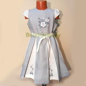 Платье детское лен (с вышивкой)