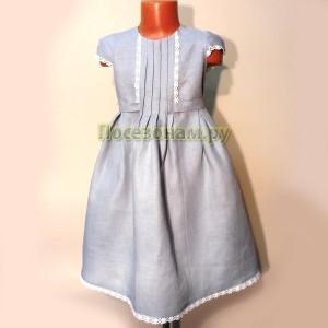 Платье детское лен (с кружевом)